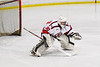 Baldwinsville Bees Casey Scott (20) in net against the Rome Free Academy Black Knights in NYSPHSAA Section III Boys Ice Hockey action at the Lysander Ice Arena in Baldwinsville, New York on Tuesday, January 28, 2020. Game ended up in a tie, 1-1.