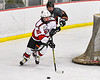 Baldwinsville Bees Brayden Penafeather-Stevenson (25) looking to make a play against the Rome Free Academy Black Knights in NYSPHSAA Section III Boys Ice Hockey action at the Lysander Ice Arena in Baldwinsville, New York on Tuesday, January 28, 2020. Game ended up in a tie, 1-1.