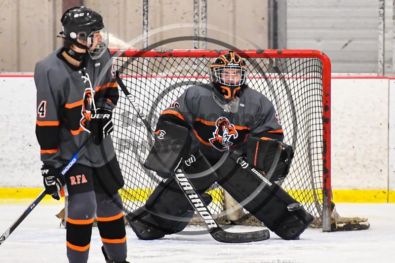Rome Free Academy Black Knights goalie Isaiah Nebush (30) about to make a save against the Baldwinsville Bees in NYSPHSAA Section III Boys Ice Hockey action at the Lysander Ice Arena in Baldwinsville, New York on Tuesday, January 28, 2020. Game ended up in a tie, 1-1.