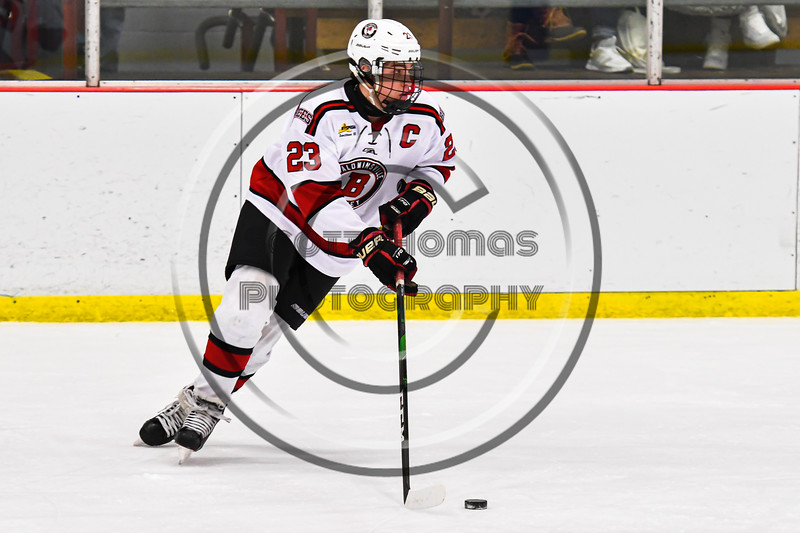 Baldwinsville Bees Braden Lynch (23) with the puck against the Rome Free Academy Black Knights in NYSPHSAA Section III Boys Ice Hockey action at the Lysander Ice Arena in Baldwinsville, New York on Tuesday, January 28, 2020. Game ended up in a tie, 1-1.
