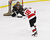 Baldwinsville Bees Luke Hoskin (16) fires the puck at the Rome Free Academy Black Knights net in NYSPHSAA Section III Boys Ice Hockey action at the Lysander Ice Arena in Baldwinsville, New York on Tuesday, January 28, 2020. Game ended up in a tie, 1-1.