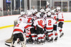 Baldwinsville Bees huddle  up before the start of the Third Period against the Rome Free Academy Black Knights in a NYSPHSAA Section III Boys Ice Hockey game at the Lysander Ice Arena in Baldwinsville, New York on Tuesday, January 28, 2020. Game ended up in a tie, 1-1.