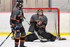 Rome Free Academy Black Knights goalie Isaiah Nebush (30) makes a save against the Baldwinsville Bees in NYSPHSAA Section III Boys Ice Hockey action at the Lysander Ice Arena in Baldwinsville, New York on Tuesday, January 28, 2020. Game ended up in a tie, 1-1.