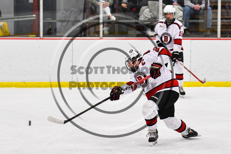 Baldwinsville Bees Braden Lynch (23) fires the puck at the Rome Free Academy Black Knights net in NYSPHSAA Section III Boys Ice Hockey action at the Lysander Ice Arena in Baldwinsville, New York on Tuesday, January 28, 2020. Game ended up in a tie, 1-1.