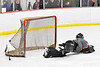 Rome Free Academy Black Knights goalie Isaiah Nebush (30) fails to stop Baldwinsville Bees Tyler Derito (27, not pictured) from scoring a goal in NYSPHSAA Section III Boys Ice Hockey action at the Lysander Ice Arena in Baldwinsville, New York on Tuesday, January 28, 2020. Game ended up in a tie, 1-1.