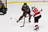 Baldwinsville Bees Luke Hoskin (16) fires the puck past Rome Free Academy Black Knights Antonio Bevilacqua (26) in NYSPHSAA Section III Boys Ice Hockey action at the Lysander Ice Arena in Baldwinsville, New York on Tuesday, January 28, 2020. Game ended up in a tie, 1-1.