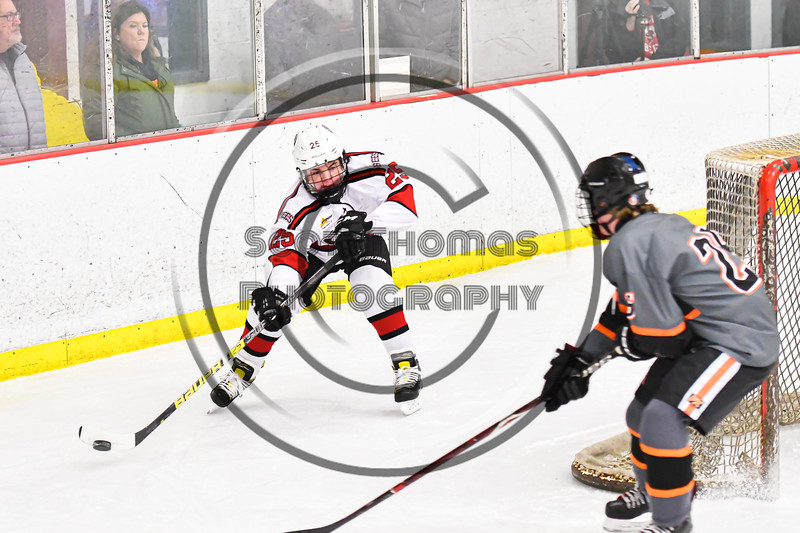 Baldwinsville Bees Brayden Penafeather-Stevenson (25) flips the puck past a Rome Free Academy Black Knights player in NYSPHSAA Section III Boys Ice Hockey action at the Lysander Ice Arena in Baldwinsville, New York on Tuesday, January 28, 2020. Game ended up in a tie, 1-1.