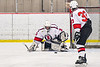Baldwinsville Bees goalie Brad O'Neil (30) makes a save against the Cazenovia Lakers in NYSPHSAA Section III Boys Ice Hockey action at the Lysander Ice Arena in Baldwinsville, New York on Friday, January 31, 2020. Baldwinsville won 8-1.
