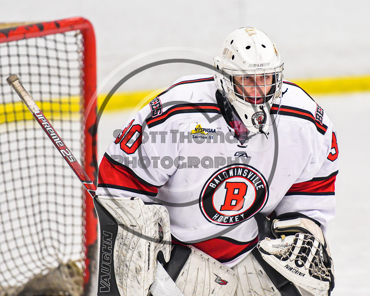 Baldwinsville Bees goalie Brad O'Neil (30) takes over in net against the Cazenovia Lakers in NYSPHSAA Section III Boys Ice Hockey action at the Lysander Ice Arena in Baldwinsville, New York on Friday, January 31, 2020. Baldwinsville won 8-1.
