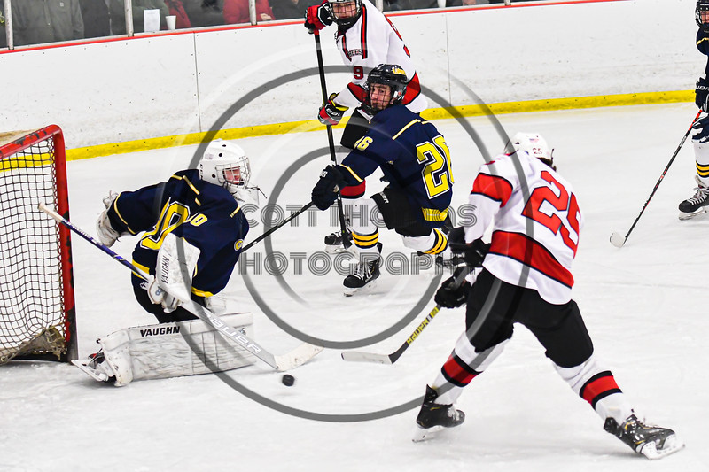 Baldwinsville Bees Brayden Penafeather-Stevenson (25) fires the puck at the Cazenovia Lakers net in NYSPHSAA Section III Boys Ice Hockey action at the Lysander Ice Arena in Baldwinsville, New York on Friday, January 31, 2020. Baldwinsville won 8-1.