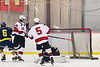 Baldwinsville Bees Luke Hoskin (16) scores a goal against the Cazenovia Lakers in NYSPHSAA Section III Boys Ice Hockey action at the Lysander Ice Arena in Baldwinsville, New York on Friday, January 31, 2020. Baldwinsville won 8-1.