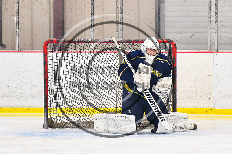 Cazenovia Lakers goalie Nick Korosec (31) makes a save against the Baldwinsville Bees in NYSPHSAA Section III Boys Ice Hockey action at the Lysander Ice Arena in Baldwinsville, New York on Friday, January 31, 2020. Baldwinsville won 8-1.