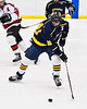 Cazenovia Lakers Josh Whaley (20) with the puck against the Baldwinsville Bees in NYSPHSAA Section III Boys Ice Hockey action at the Lysander Ice Arena in Baldwinsville, New York on Friday, January 31, 2020. Baldwinsville won 8-1.
