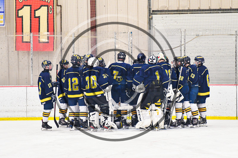 Cazenovia Lakers huddle up before playing the Baldwinsville Bees in a NYSPHSAA Section III Boys Ice Hockey game at the Lysander Ice Arena in Baldwinsville, New York on Friday, January 31, 2020.