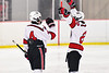Baldwinsville Bees Garrett Sutton (22) congratulates Connor Santay (4) on his goal and hat trick against the Cazenovia Lakers in NYSPHSAA Section III Boys Ice Hockey action at the Lysander Ice Arena in Baldwinsville, New York on Friday, January 31, 2020. Baldwinsville won 8-1.