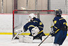 Baldwinsville Bees Connor Santay (4, not pictured) pops the net behind Cazenovia Lakers goalie Cy McCrink (30) for a goal in NYSPHSAA Section III Boys Ice Hockey action at the Lysander Ice Arena in Baldwinsville, New York on Friday, January 31, 2020. Baldwinsville won 8-1.