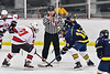 Baldwinsville Bees Brett Collier (21) faces off against Cazenovia Lakers Gage Marshall (12) in NYSPHSAA Section III Boys Ice Hockey action at the Lysander Ice Arena in Baldwinsville, New York on Friday, January 31, 2020. Baldwinsville won 8-1.