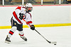 Baldwinsville Bees Alexander Pompo (5) passes the puck against the Cazenovia Lakers in NYSPHSAA Section III Boys Ice Hockey action at the Lysander Ice Arena in Baldwinsville, New York on Friday, January 31, 2020. Baldwinsville won 8-1.