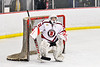 Baldwinsville Bees goalie Liam Hughes (31) in net against the Cazenovia Lakers in NYSPHSAA Section III Boys Ice Hockey action at the Lysander Ice Arena in Baldwinsville, New York on Friday, January 31, 2020. Baldwinsville won 8-1.
