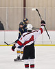 Baldwinsville Bees Connor Santay (4) celebrates his goal against the Cazenovia Lakers in NYSPHSAA Section III Boys Ice Hockey action at the Lysander Ice Arena in Baldwinsville, New York on Friday, January 31, 2020. Baldwinsville won 8-1.