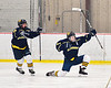 Cazenovia Lakers John Dudrick (23) celebrates his goal against the Baldwinsville Bees in NYSPHSAA Section III Boys Ice Hockey action at the Lysander Ice Arena in Baldwinsville, New York on Friday, January 31, 2020. Baldwinsville won 8-1.