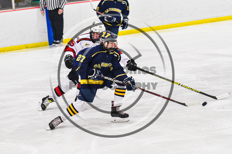 Baldwinsville Bees Brayden Penafeather-Stevenson (25) defending against Cazenovia Lakers James LaFever (27) in NYSPHSAA Section III Boys Ice Hockey action at the Lysander Ice Arena in Baldwinsville, New York on Friday, January 31, 2020. Baldwinsville won 8-1.
