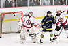 Baldwinsville Bees goalie Liam Hughes (31) and Zach Treichler (7) defending against Cazenovia Lakers Riley Newcomb (28) in NYSPHSAA Section III Boys Ice Hockey action at the Lysander Ice Arena in Baldwinsville, New York on Friday, January 31, 2020. Baldwinsville won 8-1.