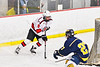 Baldwinsville Bees Cooper Foote (8) with the puck against the Cazenovia Lakers in NYSPHSAA Section III Boys Ice Hockey action at the Lysander Ice Arena in Baldwinsville, New York on Friday, January 31, 2020. Baldwinsville won 8-1.