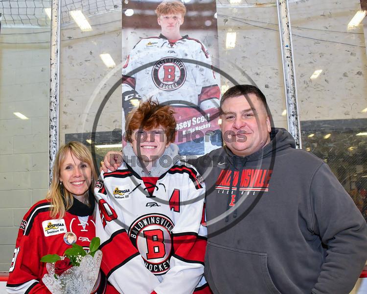 Baldwinsville Bees Casey Scott (20) on Senior Night at the Lysander Ice Arena in Baldwinsville, New York on Tuesday, February 4, 2020.