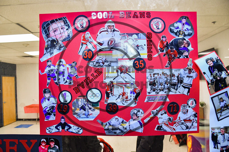 Brad O'Neil (30) poster on display for Baldwinsville Bees Boys Hockey Senior Night at the Lysander Ice Arena in Baldwinsville, New York on Tuesday, February 4, 2020.
