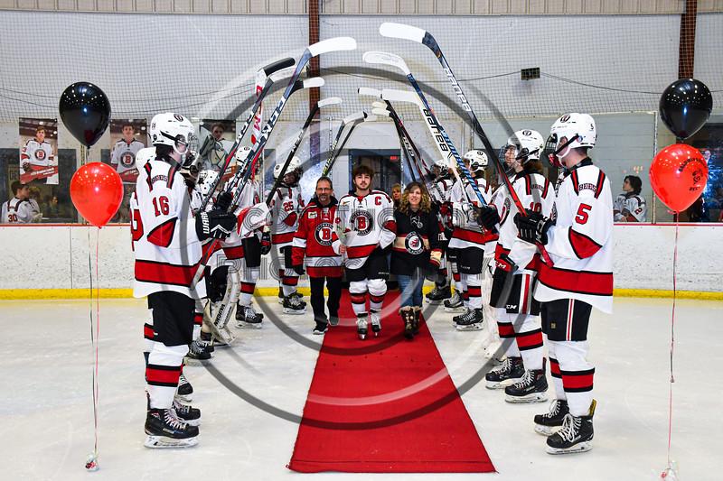Baldwinsville Bees Matt Speelman (18) on Senior Night at the Lysander Ice Arena in Baldwinsville, New York on Tuesday, February 4, 2020.