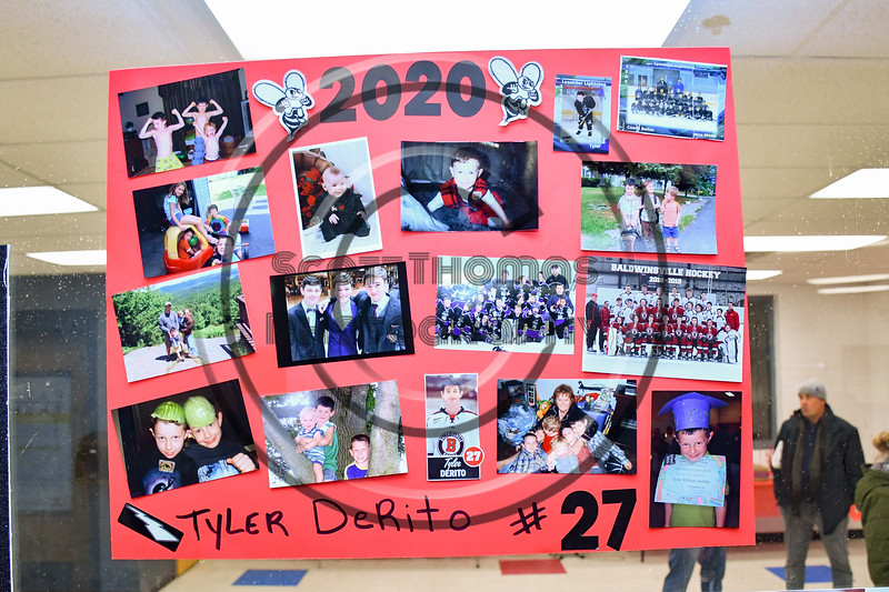 Tyler Derito (27) poster on display for Baldwinsville Bees Boys Hockey Senior Night at the Lysander Ice Arena in Baldwinsville, New York on Tuesday, February 4, 2020.
