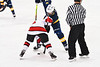 Baldwinsville Bees Keegan Lynch (2) facing off against West Genesee Wildcats Jack Mellen (23) in NYSPHSAA Section III Boys Ice Hockey action at the Lysander Ice Arena in Baldwinsville, New York on Tuesday, February 4, 2020. West Genesee won 3-1.