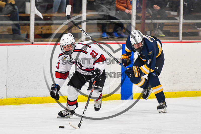 Baldwinsville Bees Brett Collier (21) skating with the puck against West Genesee Wildcats Billy Fisher (8) in NYSPHSAA Section III Boys Ice Hockey action at the Lysander Ice Arena in Baldwinsville, New York on Tuesday, February 4, 2020. West Genesee won 3-1.