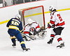 Baldwinsville Bees goalie Brad O'Neil (30) makes a save against West Genesee Wildcats James Schneid (15) in NYSPHSAA Section III Boys Ice Hockey action at the Lysander Ice Arena in Baldwinsville, New York on Tuesday, February 4, 2020. West Genesee won 3-1.