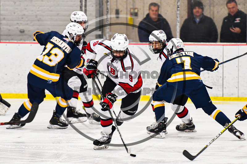 Baldwinsville Bees Matt Carner (9) with the puck against the West Genesee Wildcats in NYSPHSAA Section III Boys Ice Hockey action at the Lysander Ice Arena in Baldwinsville, New York on Tuesday, February 4, 2020. West Genesee won 3-1.