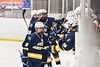 West Genesee Wildcats Joe McLaughlin (9) celebrates his goal against the Baldwinsville Bees in NYSPHSAA Section III Boys Ice Hockey action at the Lysander Ice Arena in Baldwinsville, New York on Tuesday, February 4, 2020. West Genesee won 3-1.