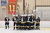 West Genesee Wildcats players huddle up before plaing the Baldwinsville Bees in a NYSPHSAA Section III Boys Ice Hockey game at the Lysander Ice Arena in Baldwinsville, New York on Tuesday, February 4, 2020.