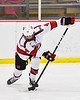 Baldwinsville Bees Connor Santay (4) with the puck against the West Genesee Wildcats in NYSPHSAA Section III Boys Ice Hockey action at the Lysander Ice Arena in Baldwinsville, New York on Tuesday, February 4, 2020. West Genesee won 3-1.