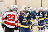 Baldwinsville Bees and West Genesee Wildcats players shake hands after a NYSPHSAA Section III Boys Ice Hockey game at the Lysander Ice Arena in Baldwinsville, New York on Tuesday, February 4, 2020. West Genesee won 3-1.