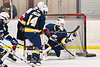 West Genesee Wildcats goalie David Myers (1) makes a glove save against the Baldwinsville Bees in NYSPHSAA Section III Boys Ice Hockey action at the Lysander Ice Arena in Baldwinsville, New York on Tuesday, February 4, 2020. West Genesee won 3-1.