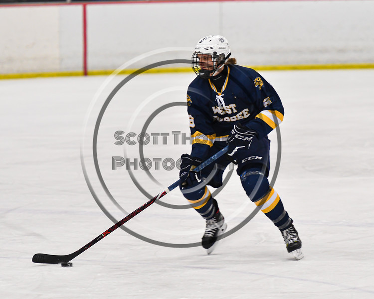 West Genesee Wildcats Jake Kopek (6) skating with the puck against the Baldwinsville Bees in NYSPHSAA Section III Boys Ice Hockey action at the Lysander Ice Arena in Baldwinsville, New York on Tuesday, February 4, 2020. West Genesee won 3-1.