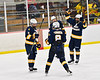 West Genesee Wildcats players celebrate the empty net goal by Andrew Schneid (11) against the Baldwinsville Bees in NYSPHSAA Section III Boys Ice Hockey action at the Lysander Ice Arena in Baldwinsville, New York on Tuesday, February 4, 2020. West Genesee won 3-1.