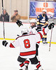 Baldwinsville Bees Cooper Foote (8) celebrates the goal by Luke Hoskin (16) against the West Genesee Wildcats in NYSPHSAA Section III Boys Ice Hockey action at the Lysander Ice Arena in Baldwinsville, New York on Tuesday, February 4, 2020. West Genesee won 3-1.