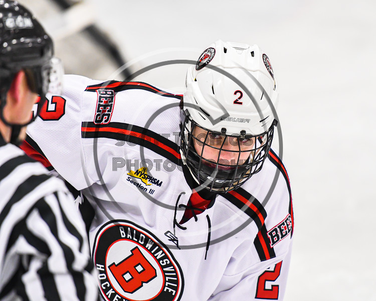 Baldwinsville Bees Keegan Lynch (2) before a face-off against the West Genesee Wildcats in NYSPHSAA Section III Boys Ice Hockey action at the Lysander Ice Arena in Baldwinsville, New York on Tuesday, February 4, 2020. West Genesee won 3-1.