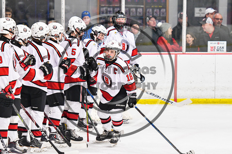 Baldwinsville Bees Matt Speelman (18) being introduced before playing the West Genesee Wildcats in a NYSPHSAA Section III Boys Ice Hockey game at the Lysander Ice Arena in Baldwinsville, New York on Tuesday, February 4, 2020.