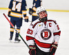 Baldwinsville Bees Braden Lynch (23) grimaces as he comes off the ice against the West Genesee Wildcats in NYSPHSAA Section III Boys Ice Hockey action at the Lysander Ice Arena in Baldwinsville, New York on Tuesday, February 4, 2020. West Genesee won 3-1.