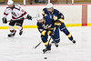 West Genesee Wildcats James Schneid (15) skating with the puck against the Baldwinsville Bees in NYSPHSAA Section III Boys Ice Hockey action at the Lysander Ice Arena in Baldwinsville, New York on Tuesday, February 4, 2020. West Genesee won 3-1.