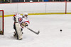 Baldwinsville Bees goalie Brad O'Neil (30) sends the puck up ice against the West Genesee Wildcats in NYSPHSAA Section III Boys Ice Hockey action at the Lysander Ice Arena in Baldwinsville, New York on Tuesday, February 4, 2020. West Genesee won 3-1.