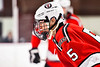 Baldwinsville Bees Alexander Pompo (5) before a face-off against the Syracuse Cougars in NYSPHSAA Section III Boys Ice hockey action at Meachem Ice Rink in Syracuse, New York on Thursday, February 13, 2020. Syracuse won 4-0.